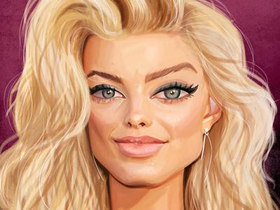 Caricature studies: Margot Robbie study margotrobbie portrait painting illustration digitalart character caricature art