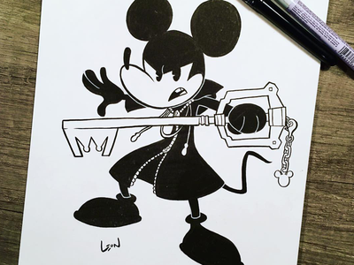 King Mickey inktober analog art disney king mickey kingdom hearts illustration