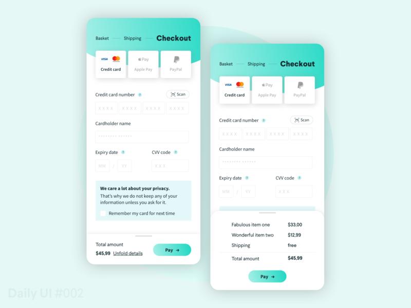 Credit card checkout - Daily UI #002 design app uxdesign smartphone creditcard checkout ui ux 002 challenge daily ui dailyui