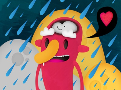 Rain Man mrbiscuit illustration character design colourful red yellow blue heart rain