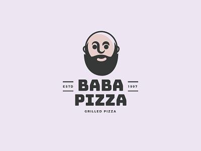 Baba Pizza mascot pizzeria pizza shop pizza logo pizza delivery