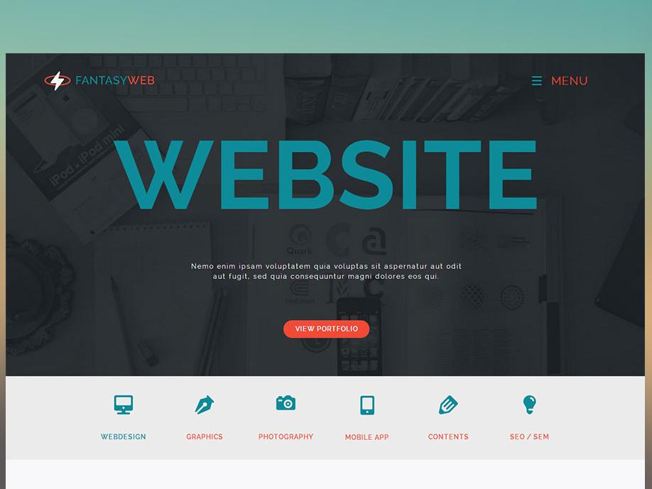 Fantasy Single Page Web Free Adobe Muse Template