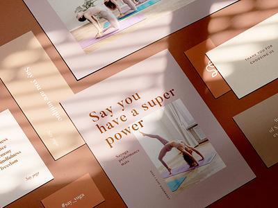 Sayoga yoga mats branding modern stationery design positive beige minimal yoga mat branding logo yoga pose yoga