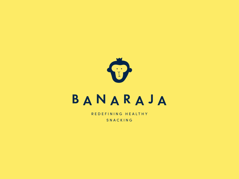 Banaraja logo logo food snack banana yellow chips gorilla ape face monkey