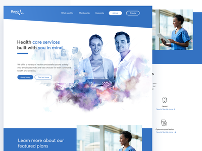 BUPA Healthcare insurance health app healthcare health clean simple layout illustration art blue web website