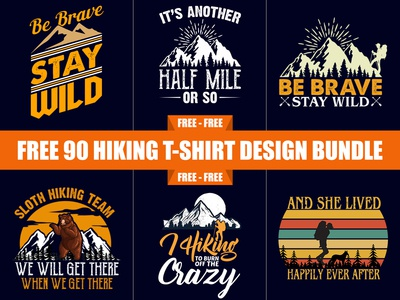 Free 90 Hiking T-Shirt Design Bundle - Hello Dribbble