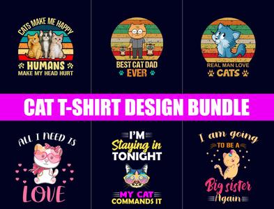 Funny Cat T-Shirt Designs Bundles