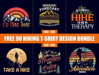 Free 90 Hiking T Shirt Design Bundle -