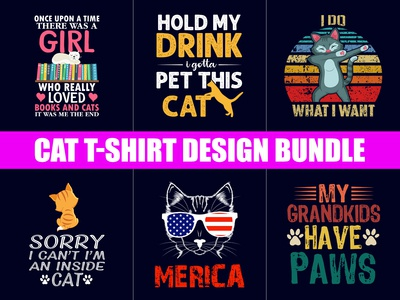 Funny Cat T-Shirt Designs Bundles - Hello Dribbble