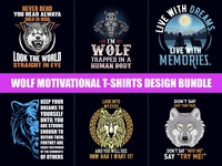 Wolf Motivational T-Shirts Design Bundle​​​​​​​ - Hello Dribbble