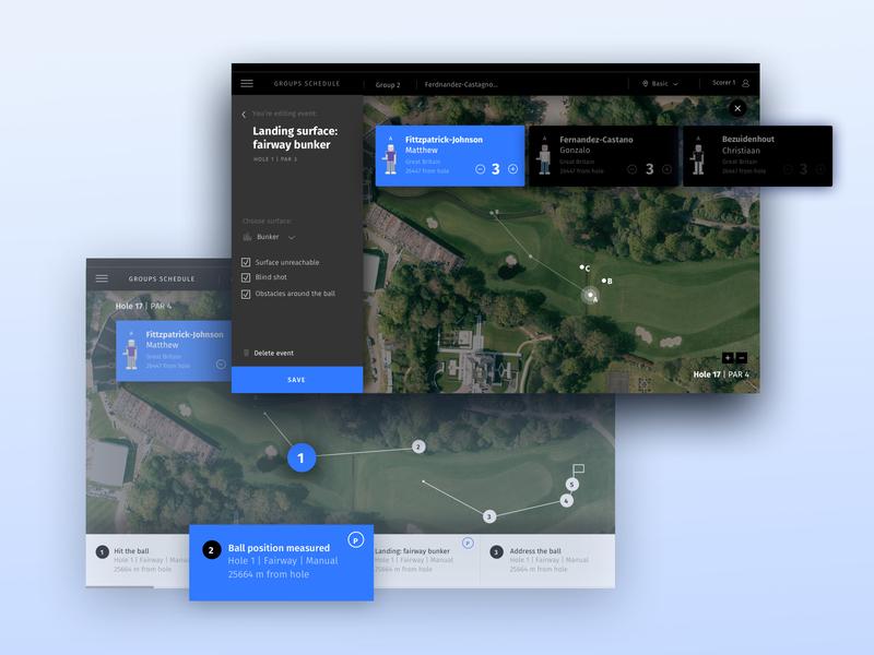 Golf app platform system design event tournament navigation map sketch vector typography ux ui sports sport golf app