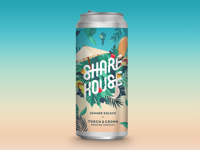 ShareHouse Summer Kolsch illustration typography design beer can beer branding beer beer label