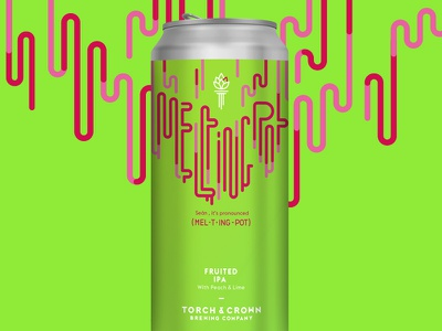 Torch & Crown Brewing Company – Melting Pot packaging design identity design beer branding beer label beer can bee