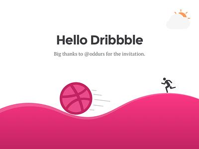 Hello Dribbble first shot ball dribbble running hello debut