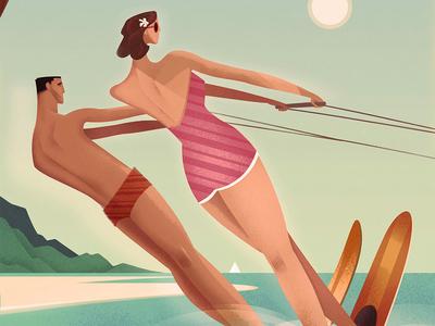 Hawaii Vintage Travel Poster design illustration poster design graphic design graphic art vintage travel poster retro poster hawaii travel poster