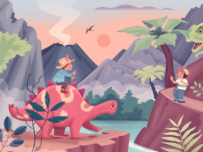 Children's Illustration graphic art dinosaur book illustration illustration childrens illustration kids book dinosaurs