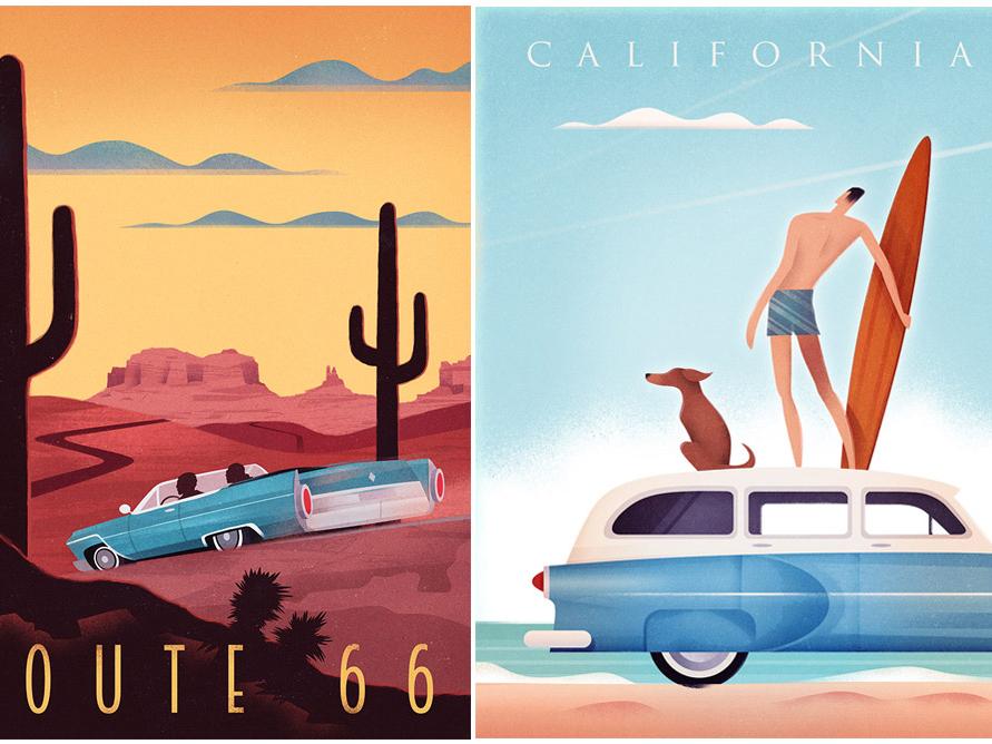Vintage Travel Posters poster design retro poster travel poster illustration graphic art design car surfing minimalist graphic retro route 66 california travel poster vintage