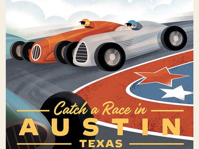 Austin Retro Travel Poster austin texas race track race car car travel poster design graphic vintage travel poster retro poster poster design graphic art illustration