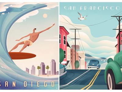 Vintage Travel Posters art deco california san diego san francisco poster graphic design vintage retro travel travel poster retro poster poster design graphic design graphic art illustration