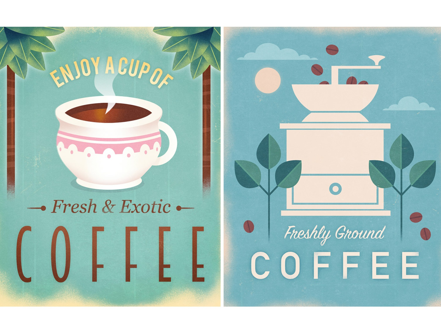 Vintage Coffee Poster Designs cup of coffee beverage coffee retro vintage retro poster poster graphic poster design graphic art design illustration