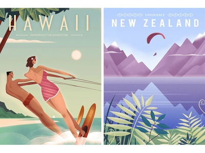 Retro graphic travel posters new zealand hawaii vacation graphic design travel retro vintage travel poster retro poster poster graphic poster design graphic art design illustration