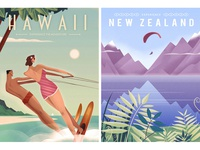Retro graphic travel posters