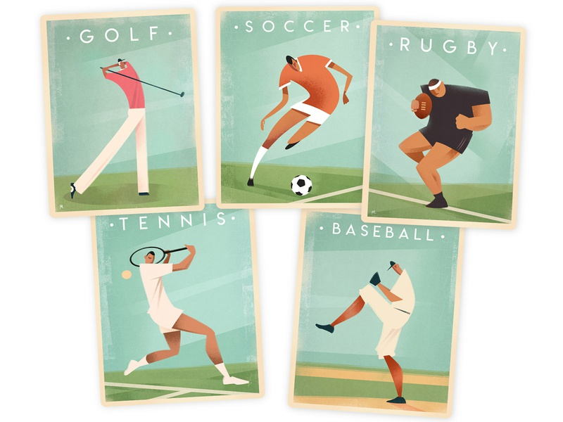 Vintage Sports Poster Designs card baseball soccer rugby tennis golf sports graphic design retro vintage retro poster poster graphic poster design graphic art design illustration