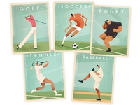 Vintage Sports Poster Designs card baseball soccer rugby tennis golf sports graphic design retro vintage retro poster poster graphic poster design graphic art design illustration