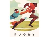 Rugby Poster dynamic people stylized graphic athletic outdoors vintage running men rugby sports