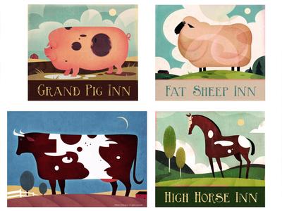 Vintage Farm Animal Signs textured illustration vintage sign animal illustration signage vintage