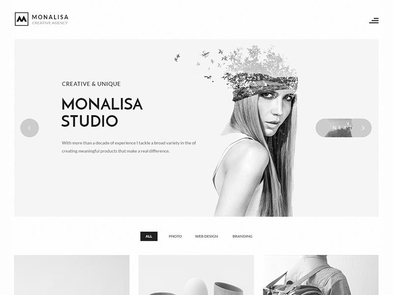 Black White Skin Portfolio Minimalist Minimal Web Design Template WordPress Theme Studio Monalisa Creative
