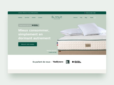 Bonnuit | E-commerce typography branding lille made in france france handmade mattress french product design shopify agency ux ui shop ecommerce website