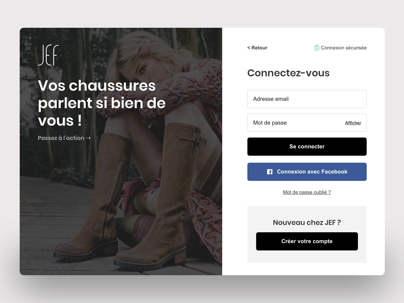 5287617da34f5f JEF Chaussures - Login redesign by Camille Raviart | Dribbble | Dribbble