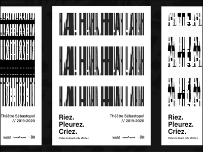 Sébastopol Theater - Poster concept black and white theater lille typography font abstract design poster