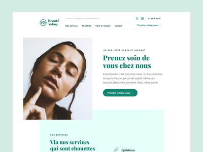 Beauté Valmy - Homepage 🌱 branding ui beauty beauty salon green homepage design website