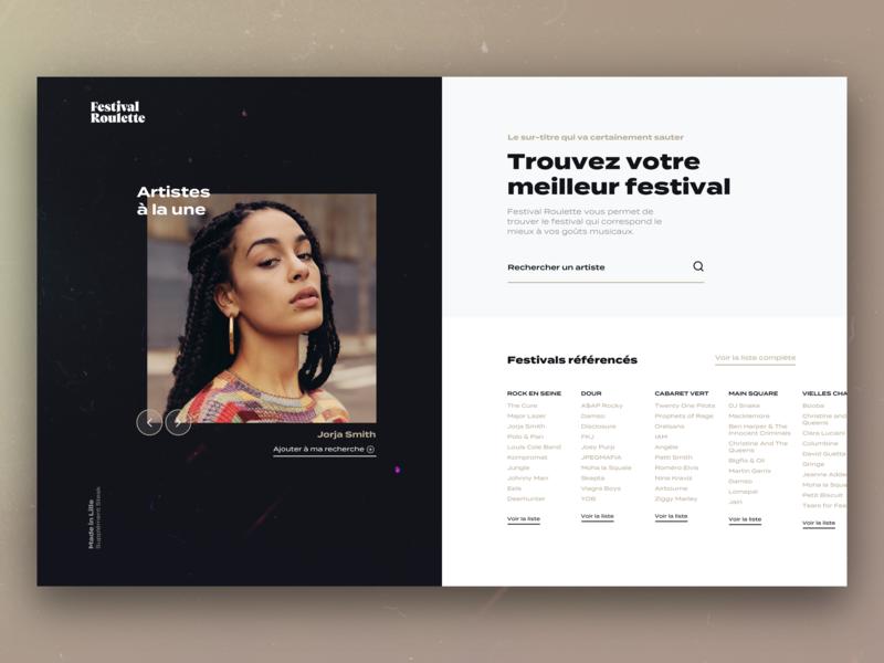 Festival Roulette typography venue venues dates artists festival search music branding ux ui design website