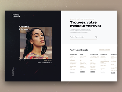 Festival Roulette typography venue venues dates artists festival search music branding ux ui design website