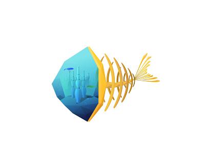 "Aquamarine ""Fish"" Tank Artifact vector 2d first shot debut color water fish game graphic design design graphic illustration"