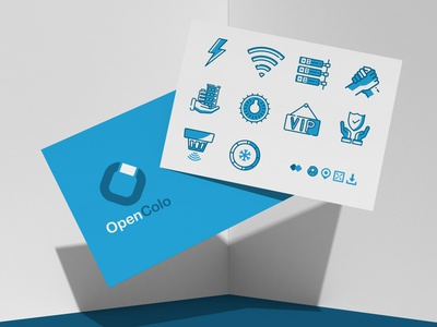 OpenColo Iconography Set ognen trpeski trpeskidesign digital website design services graphicdesign flatdesign icons pack iconset digitaldesign software servers technology illustrations vector blues cyan web iconography icons