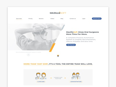 MaxilloSoft Homepage Header Section arrows designer data processing documentation automation technology software ognen trpeski trpeskidesign websites iconography web concept digital design surgeon dentist medical design user experience user interface web design website