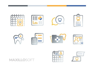 MaxilloSoft Custom Iconography iconset iconography graphic illustrator data processing medical software gradient icon gradient ognen trpeski trpeski design medical icons dentist color brand identity web webicons digital icons iconography