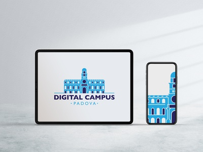 Digital Campus Padova flat design building architecture marketing advertising web digital brand graphicdesign illustrator vector vectorart online learning school campus university education illustration trpeskidesign ognen trpeski