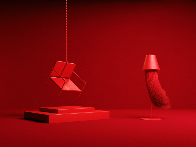 Redish lamp chair hair red set motiondesign octane c4d 3d abstract minimal illustration