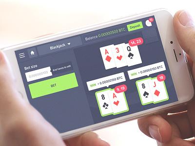 Bitcoin Blackjack Game gambling gaming iphone app ui design game cards blackjack casino bitcoin