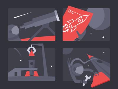 Process Illustrations star space kickpush website web design black red ui process flat illustration