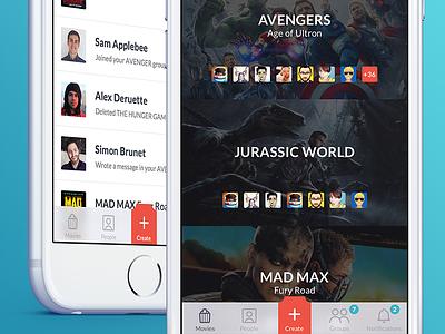 Movies app - UI ios notifications movie cinema kickpush iphone flat app sketch ux design ui