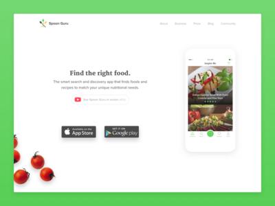 Spoon Guru - new website android ios app kickpush branding vegan food ux ui website guru spoon