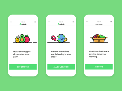 iOS app - Fruits and veggies UI illustrations health fitness nutrition app shopping food delivery illustration character ui ux green