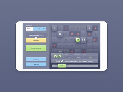 Responsive web game - Keno gambling gaming gambling game keno casino bitcoin app ios web ui ux bet