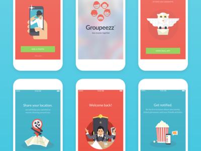 iOS app - UI illustrations illustrator red blue iphone ios ux ui app movie sketch cinema illustration